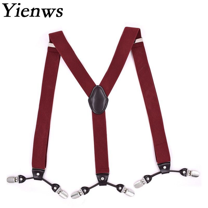Yienws Bretels Mannen Mens Suspenders for Pants Y-sharp Burgundy Braces for Man 6 Clasp Casual Male Suspenders 3.5*120cm YiA084