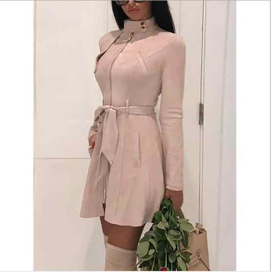 Autumn Women Stand Collar Sash Suede Trench Casual Leather Pocket Long Women Fall Coat Winter Warm Outwear Overcoat Female LJ368