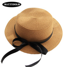 MATTYDOLIE Wholesale Summer Hat Parent-child Straw Wide-brimmed Flat Top Girl Child Beach Visor Bow Tie Sun