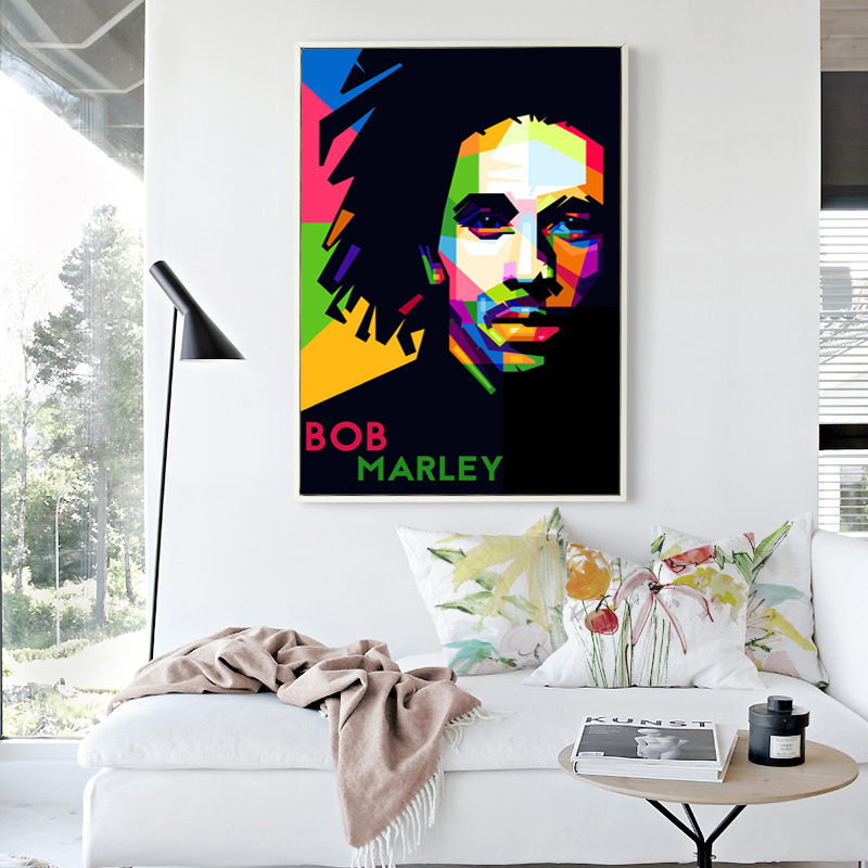 Outstanding Singer Bob Marley Simple WPAP Art Colorful Portrait Canvas Painting Print image Poster Wall Home Decor ...