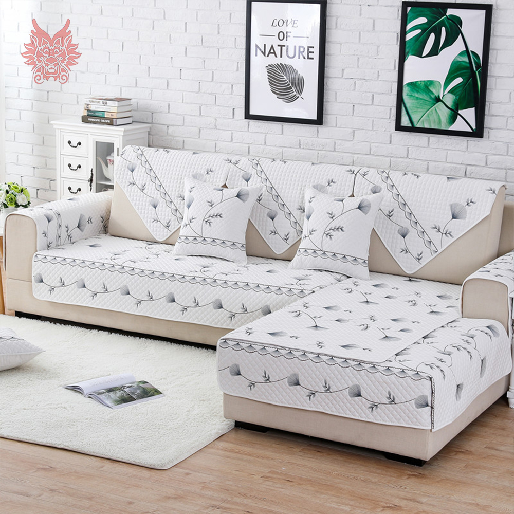 Pastoral style dandelion embroidery quilted sofa cover slipcovers cotton sectional sofa cover fundas de sofa couch covers SP5164