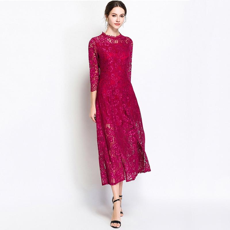 Femmes violet dentelle robe été automne élégant col roulé à lacets longue robe de soirée a-ligne trois quarts manches Vestido