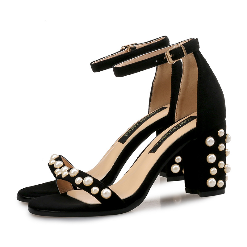 2018 Sexy Summer Women Fashion Ankle Strap Platform Buckle-Belt High Heel Sandals Ladies Pearl Sandals sorbern wine red t strap rivets rope wedge high heel sandals platform gold studs ankle strap summer sandals for ladies plus size