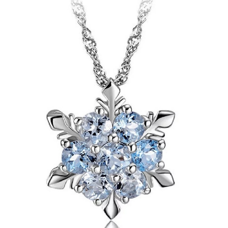 Charm Vintage lady Blue Crystal Snowflake Zircon Flower Silver Necklaces & Pendants Jewelry Christmas for Women Free Shipping