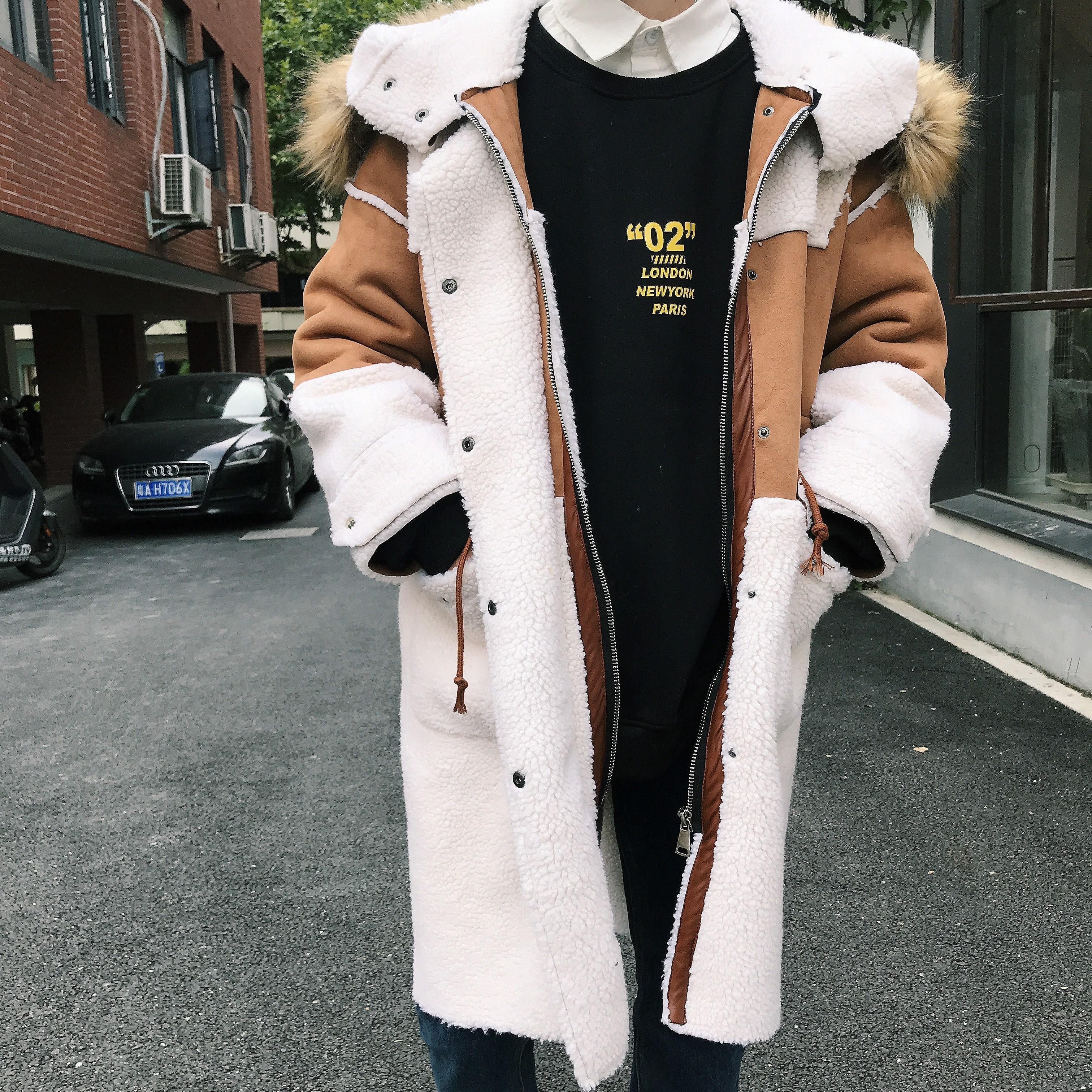 Men Warm Winter Jacket Immitation Lamb Fleece Hooded Trench Coat Men Sherpa Coat Men Oversizemens Coat Manteau Long Homme