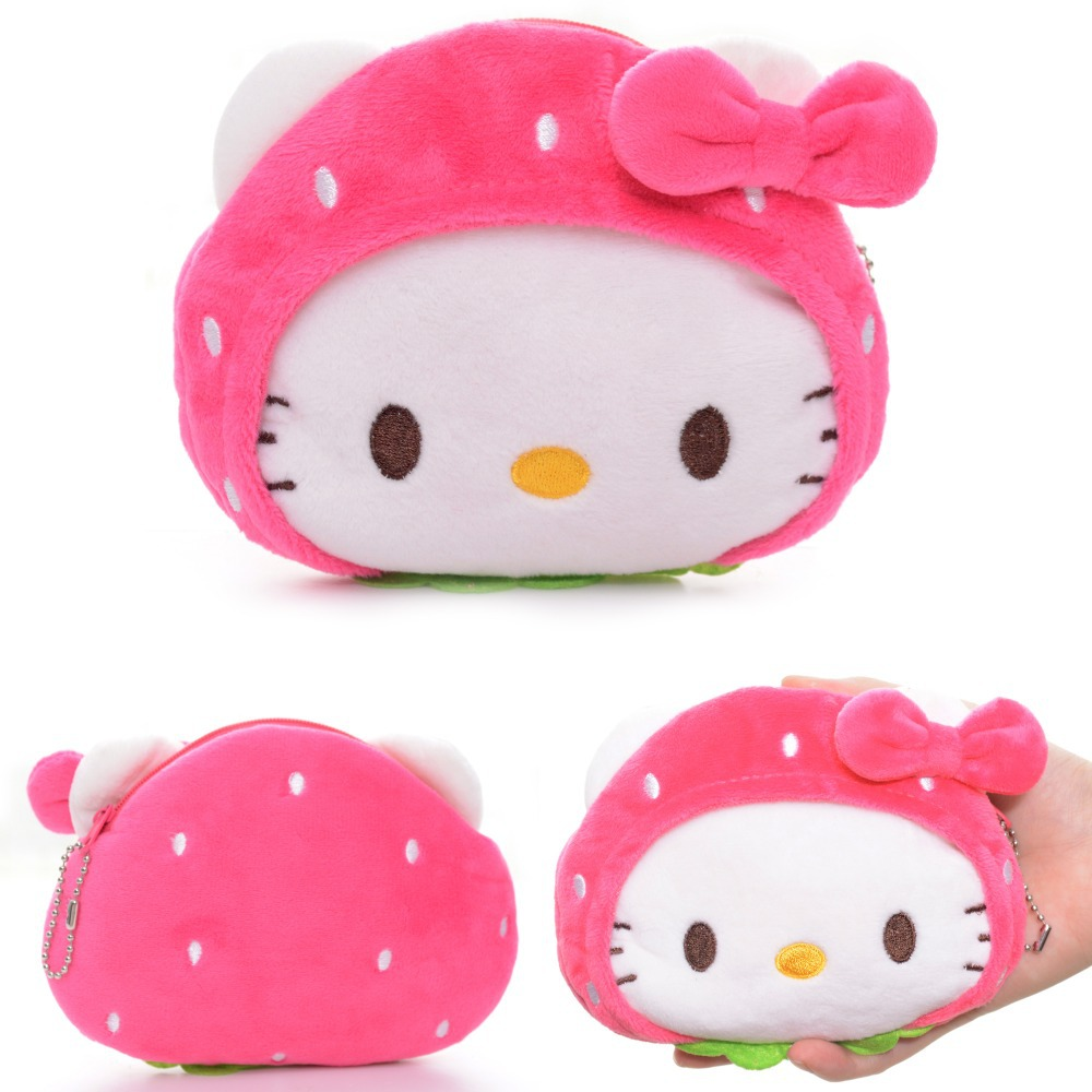 af00c072b1e6 Lovely Desgin Cartoon Strawberry Hello Kitty Mouse Rilakkuma bear Plush  Girls Kids Mini Coin Purse Wallet + Chain 5*4'' New-in Coin Purses from  Luggage ...