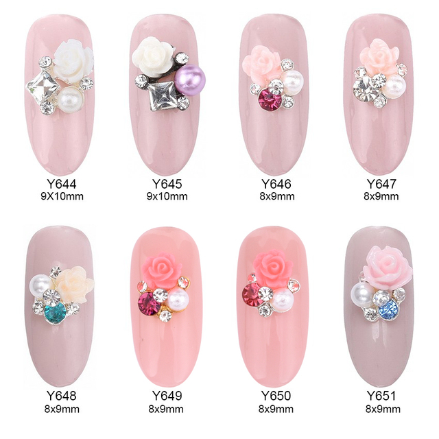 10pcs Flower Square Rhinestones Pearl Jewelry Nail Art Design 3d
