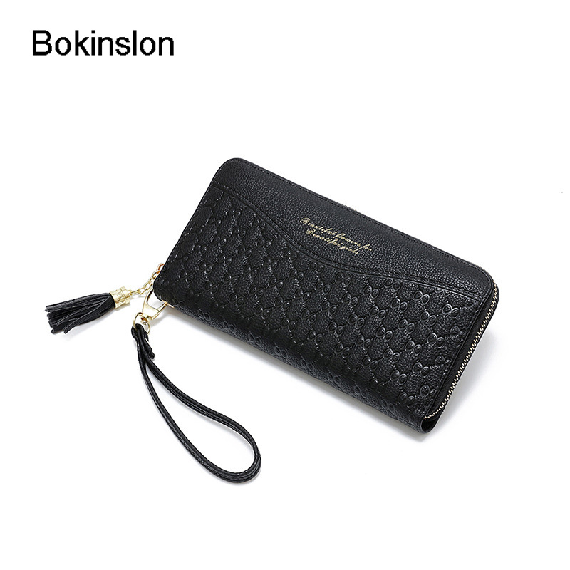 Bokinslon Woman Wallet Brand Designer PU Leather Casual Girl Wallet Long Section Zipper Women Wallet Fashion graphic print crop top