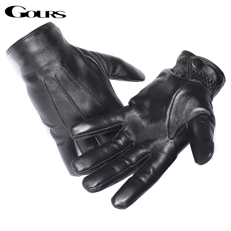 Gours Genuine Leather Gloves for Men Real Sheepskin Black Gloves Button Fashion Brand Warm In Winter Mittens New Arrival GSM050