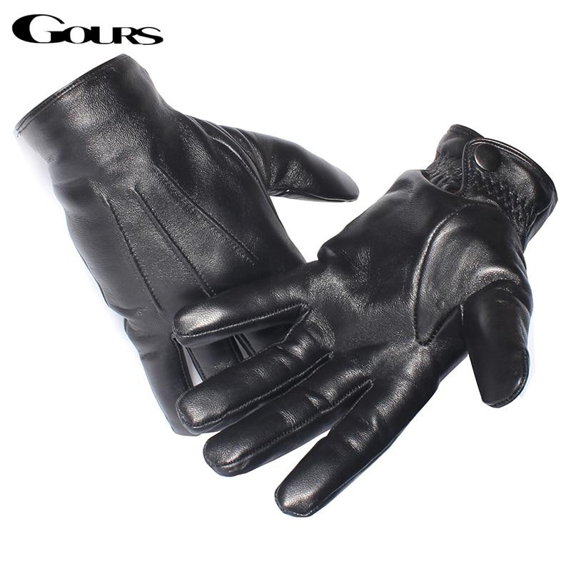 Gours Men's Genuine Leather Gloves Real Sheepskin Black Touch Screen Gloves Button Fashion Brand Winter Warm Mittens New GSM050