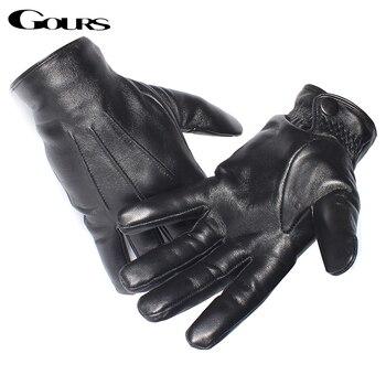 Gours Genuine Leather Gloves for Men Real Sheepskin Black Gloves Button Fashion Brand Warm In Winter Mittens New Arrival GSM050 Чокер