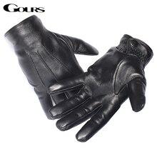 Gours erkek hakiki deri eldiven gerçek koyun derisi siyah dokunmatik ekran eldiveni düğmesi moda marka kış sıcak eldivenler yeni GSM050