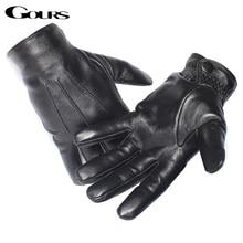 Gours männer Echte Leder Handschuhe Echt Schaffell Schwarz Touch Screen Handschuhe Taste Mode Marke Winter Warme Handschuhe Neue GSM050