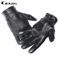 Gours Genuine Leather Gloves For Men Real Sheepskin Black Gloves Button Fashion Brand Warm In Winter