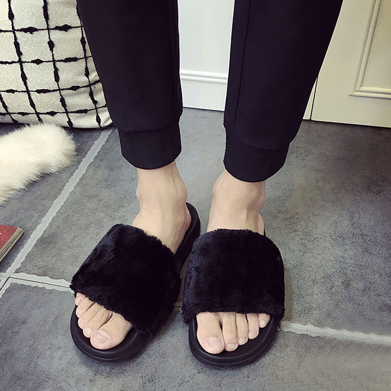 Lotus Jolly Plus size 36-44 women fur slides Unisex couple shoes woman pink fur slippers Lovers home sandals cozy flip flops plush winter slippers indoor animal emoji furry house home with fur flip flops women fluffy rihanna slides fenty shoes