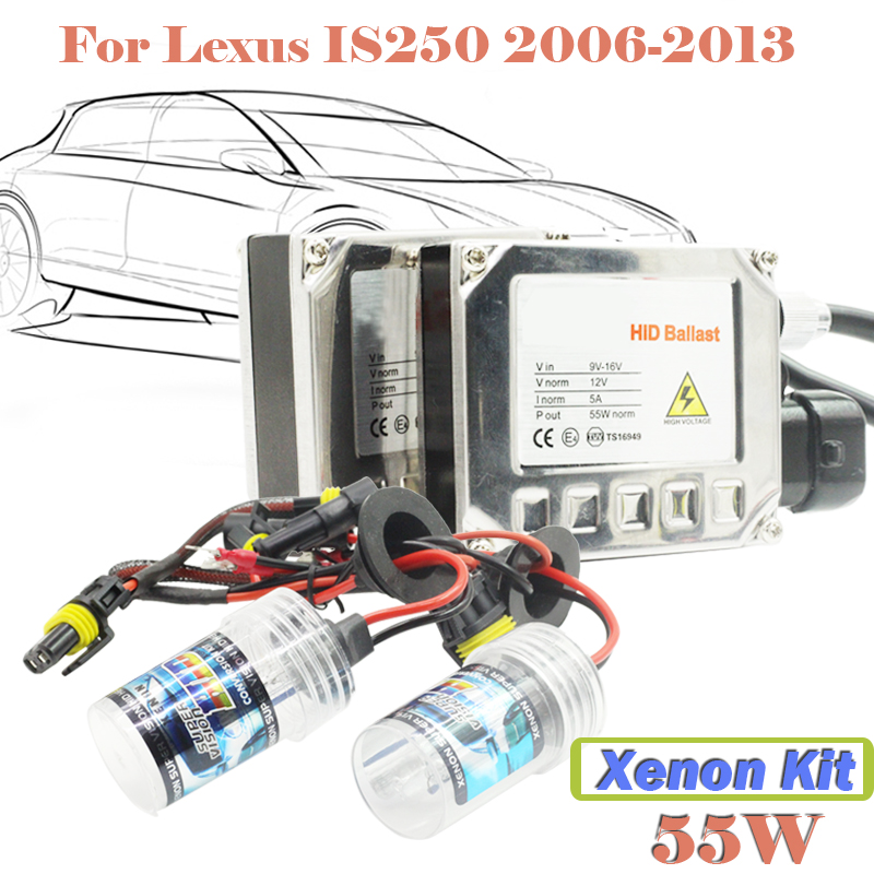 55W Xenon HID Kit Aluminum Shell Ballast Bulb 3000K-15000K Car Conversion Headlight Head Light For IS250 2006-2013  55w xenon hid kit aluminum shell ballast bulb 3000k 15000k car conversion headlight head light for is250 2006 2013
