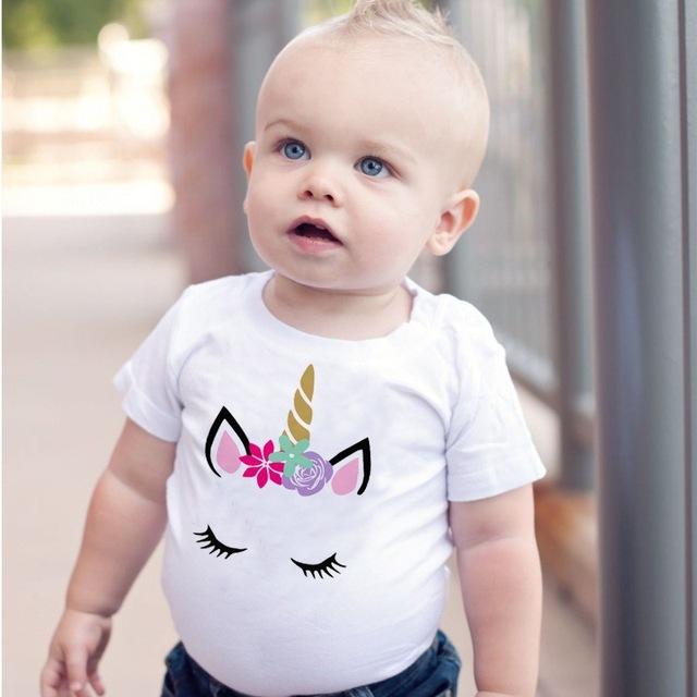 POSH DREAM Baby Girl T-shirt Tops Children Summer Short Sleeve T-Shirts for Boys Girls Clothes Baby Boy Unicorn Toddler Clothes