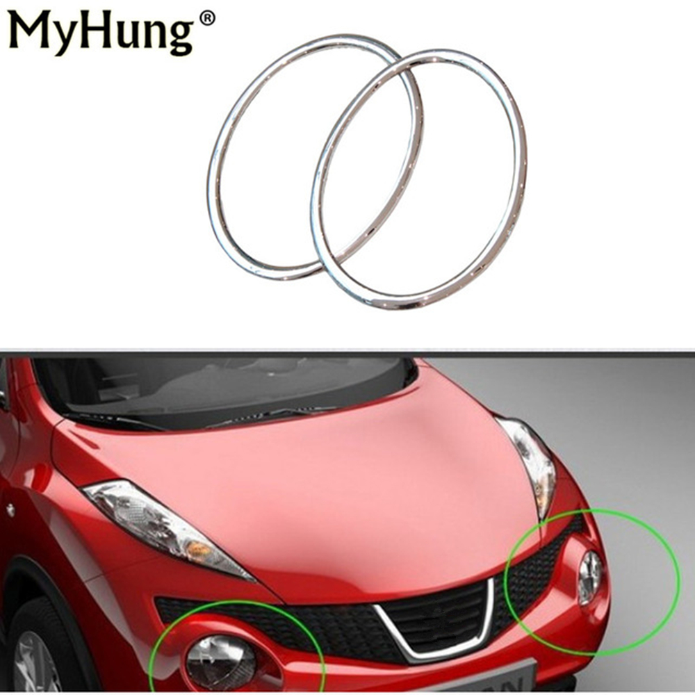Car Styling Head Lamp Front Bumper Headlight Ring Trim Cover For Nissan Juke 2010-2014 Abs Chrome Auto Accessories 2pcs per set купить