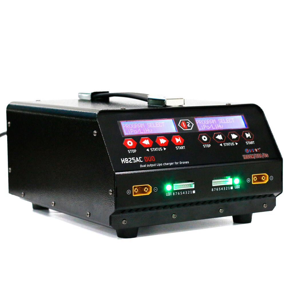 HTRC H825AC DUO 1200W 25A Dual Port 1-8s Lipo/Lihv Battery Balance Charger for agricultural spraying Drone Plant Protection UAV