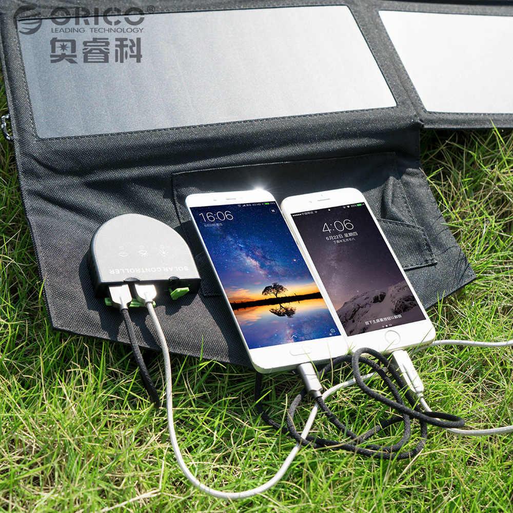 Orico energía solar plegable Paquete de carga USB 5V2. 4A * 2 Max 5V4. 8A DC 5 V a 18 V Max 18V1. 5A para smartphones portátiles PVC impermeable