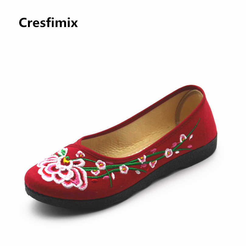 Cresfimix sapatos femininos women casual spring and summer slip on dance shoes lady cute soft bottom flower printed shoes cresfimix sapatos femininas women casual soft pu leather flat shoes with side zipper lady cute spring