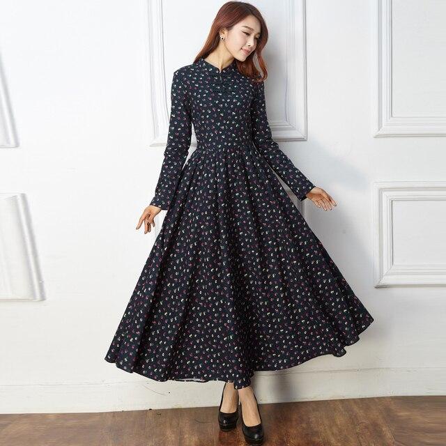 Spring Autumn 2015 Women Mandarin Collar Long Sleeved Cotton Linen Floral  Printed Long Dress Mori Girl Vintage Maxi Dresses a5c1365c6d3a