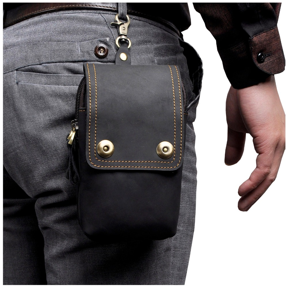 Real Leather Men Casual Design Small Waist Bag Pouch Cowhide Fashion Hook Waist Belt Pack Cigarette Case Phone Pouch 011-b