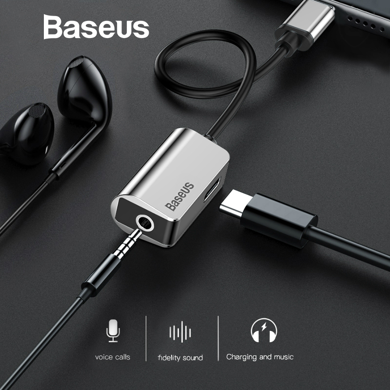 Baseus USB C to 3.5mm AUX Audio Adapter for Xiaomi 6 Huawei P20 Pro USB Type C to 3.5 Earphone Converter Fast Charging Cable yuxi 90pcs type c usb c usb 3 1 to 3 5mm male car aux audio cable adapter audio earphone jack for letv 2 pro 2 xiaomi 6