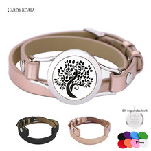 25mm Genuine Leather Aroma Locket Stainless Steel Bangle Essential Oils Diffuser Locket Bracelet(China)