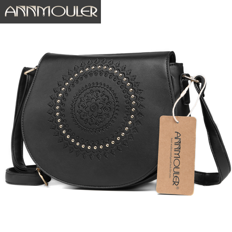 Annmouler Vintage Crossbody Bag Pu Leather Women Shoulder Bag Floral Embossed Rivet Messenger Bag For Girls Small Handbag