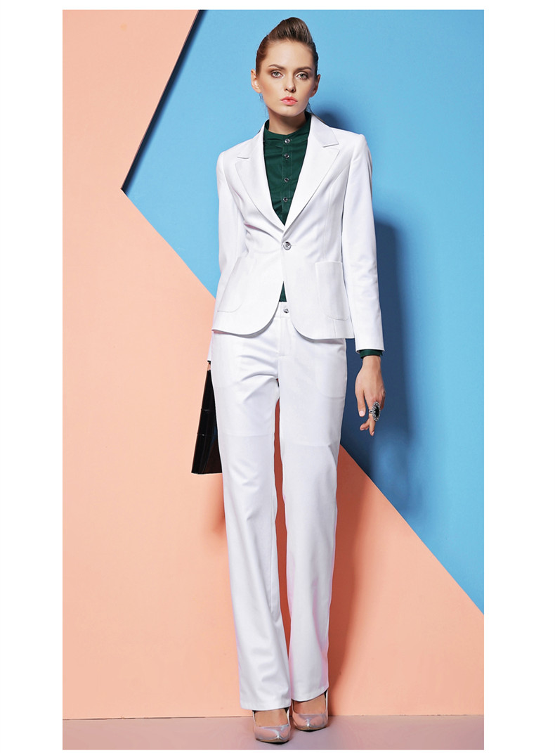 New Custom Made White Elegant Autumn Winter Formal Work Wear Women Pants Suits Professional Sets ...
