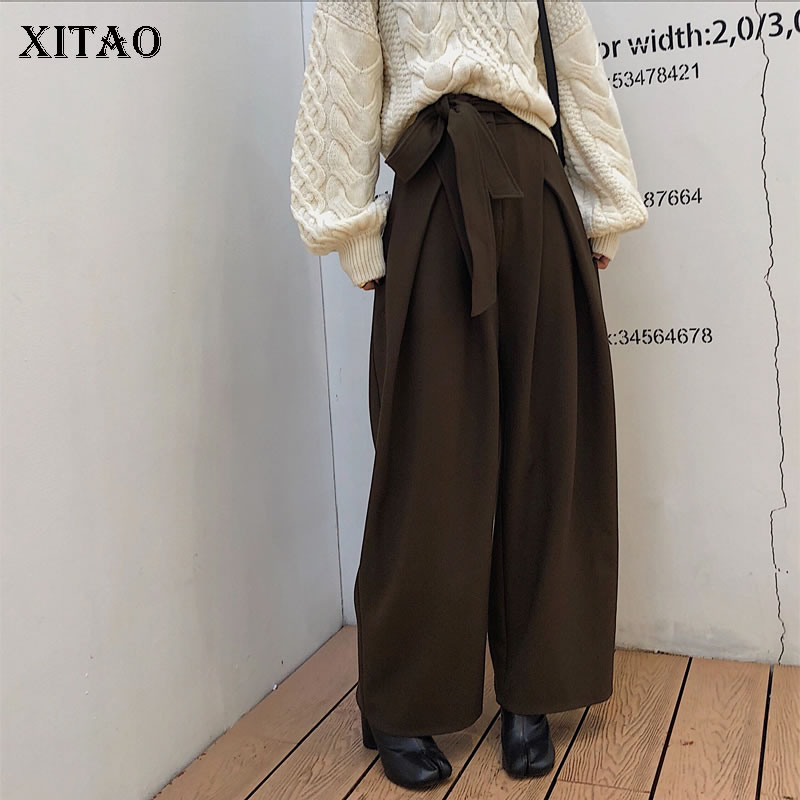 [XITAO] Women Fashion New 2019 Spring Summer Solid Color   Wide     Leg     Pants   Female Elastic Waisted Loose Full Length   Pants   ZLL2735