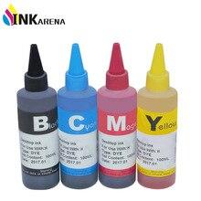 INKARENA Universal 4 Color Dye Refill Ink Replacement For HP 100ML Ink Kit For Premium Bulk Ink Bottle Printer Ink Cartridge