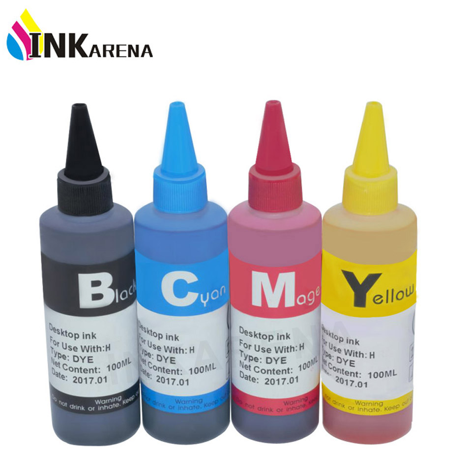 INKARENA Universal 4 Color Dye Refill Ink Udskiftning til HP 100ML Ink Kit til Premium Bulk Ink Bottle Printer Blækpatron