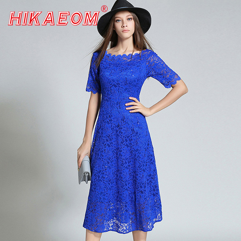 Europe Style Blue Lace Dresses Early Autumn New Ladies Lace Dress Short Sleeve Long Slim Sequined Dress Online Shopping India