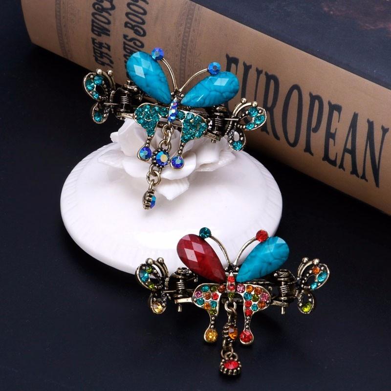Women Vintage hair claws blue Butterfly Pins Hair Bow Barrette Clip Hair Accessories