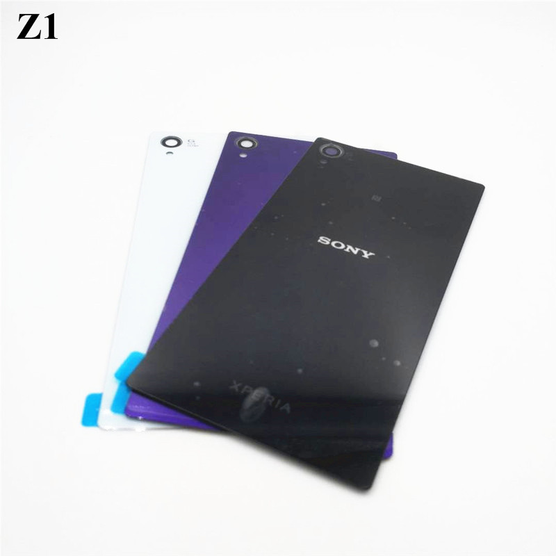5.0'' For Sony Xperia Z1 L39H C6902 C6903 Back Glass Battery Door Housing Rear Back Cover Replacement Spare Parts NFC