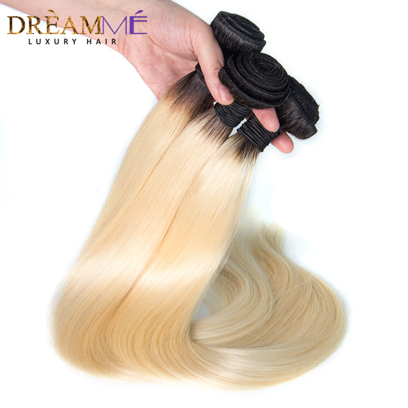Dream me Hair 1b 613 Blonde Brazilian Straight Hair 3 Bundles Ombre Human Hair Extensions Remy