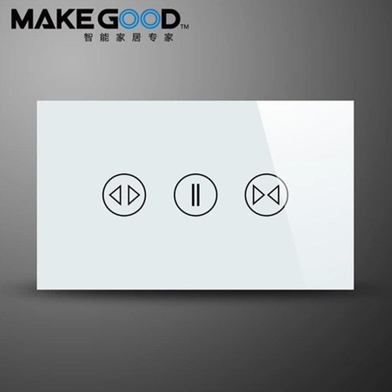 Commutateur de mur de système à la maison intelligent Standard de MakeGood US/AU, commutateur de rideau tactile avec la fréquence 433 MHZ