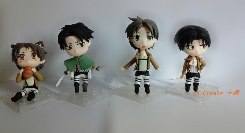 ФОТО Free shipping new arrival 4pcs Q version Attack on Titan Mikasa Ackerman Ellen Moblit pvc figure toy tall 12cm set.Hot sell doll