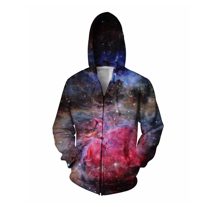 Amazing Lush Galaxy Zip-Up Hoodie Women Men Tops 3d Print Nebula Space Hoody Hoodies Coats Sweat Jumper