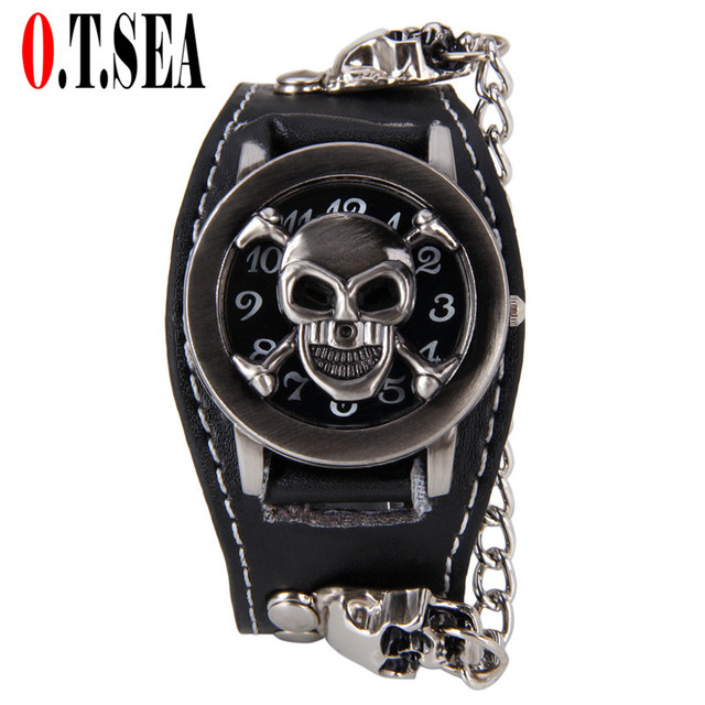 Hot Sales O.T.SEA Brand Copper Skull Leather Watch Men Military Sports Quartz Wr