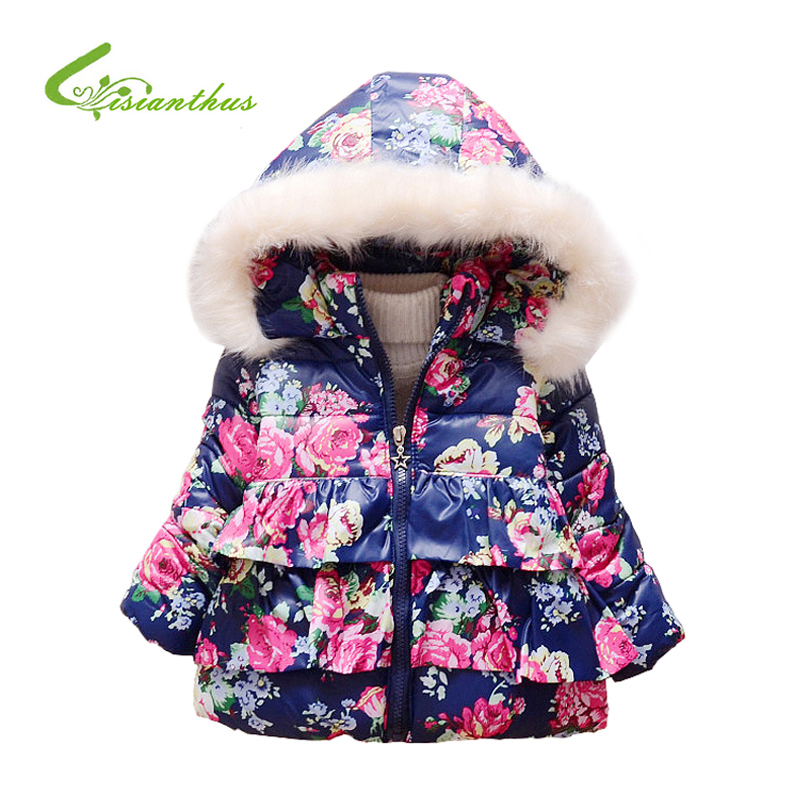 Baby Girl's Coat Winter Children Jacket Printing Floral Bow Girl Cartoon Warm Outerwear Long Sleeve