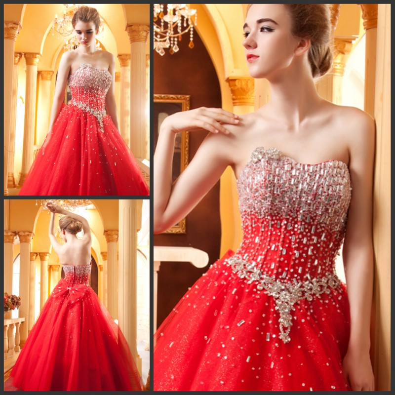 Custom Made Red Wedding Dress Sweetheart Sleeveless Heavy Beads Crystals Bling Bridal Dresses Vestido De Noiva IZ177