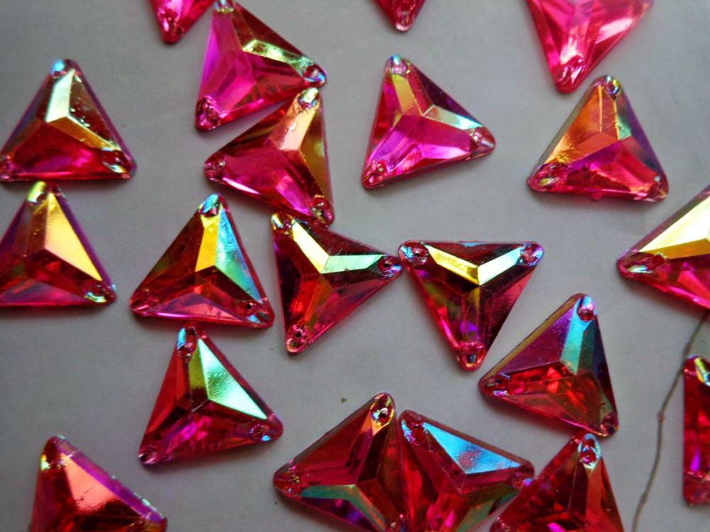 Dazzling 100pcs triangle shape 14mm gem stones sew on rhinestones rose red colour  crystals flatback dress accessory 00a45cec6fe0