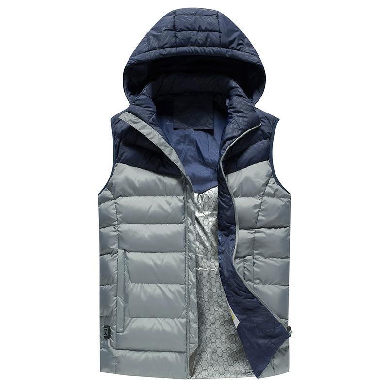 Men Winter Outdoor Heated Smart USB Work Heating Sleeveless Jacket Coats Adjustable Temperature Control Safety Clothing DSY008