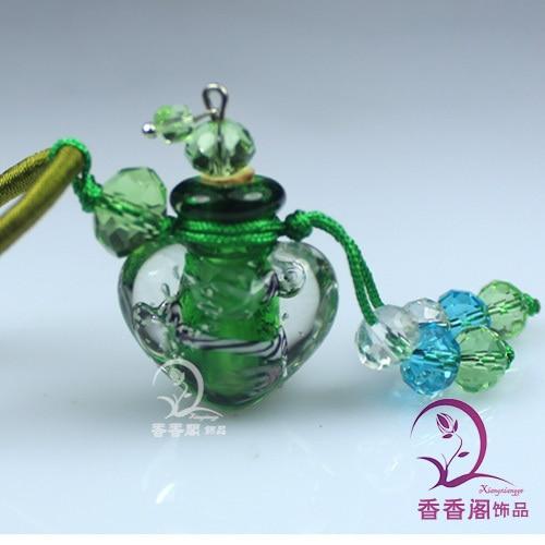 2 шт Духи из муранского стекла ожерелье s, ароматические флаконы, стеклянные подвески для духов, парфюмерное ожерелье флакон - Окраска металла: green