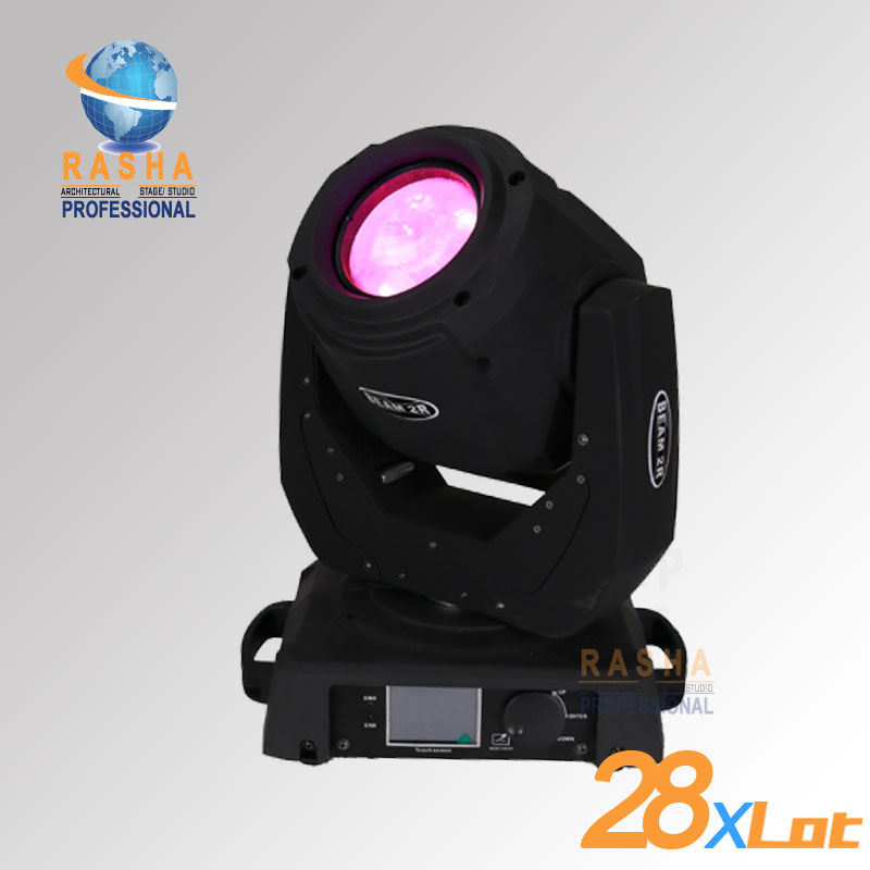 28x Rasha High Quality 2R 130W Beam MovingHead Light With 14 Gobos, 3 Layer Lens Touch Screen LCD Display With PowerCON DMX