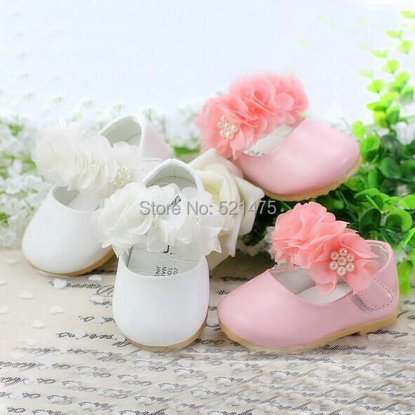 Nuevo diseño 2014 del bebé bautizo de las muchachas zapatos Infant Toddler Baby Girl Soft cuero de la PU del zapato primeros caminante regalos recién nacidos