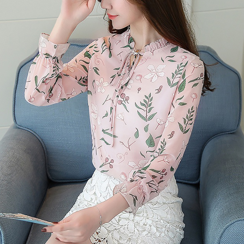 Women's Clothing Independent Shintimes Blusas Mujer De Moda 2019 Chiffon Women Blouses Woman Shirts Floral Summer New Bow Sash Casual Long Sleeve Ladies Tops Good For Antipyretic And Throat Soother